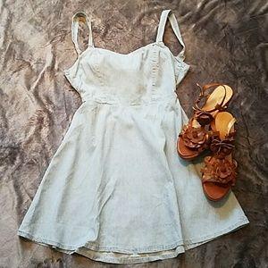 Chambray Open Back Summer Dress